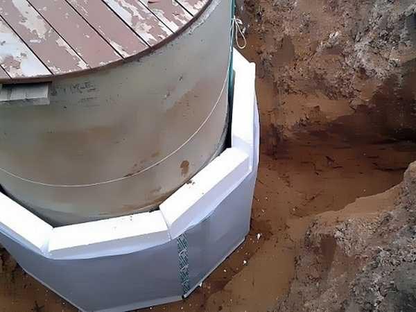 Утеплить колодец нужно снаружи на глубину промерзания грунта, а также сделать крышку или домик