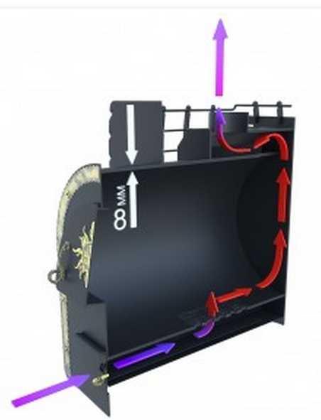 В дверце зольника есть воздушная заслонка. Открывая/закрывая ее можно регулировать интенсивность горения, а значит, и температурный режим в парилке