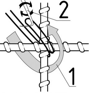 Порядок действий при вязке арматуры крючком