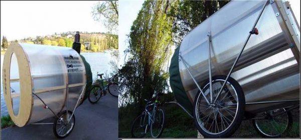 Для любителей вело прогулок - баня на велосипедных колесах