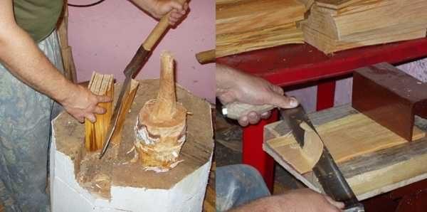 Потом расщепляют их на дощечки толщиной 6-15 мм и потом обтесывают