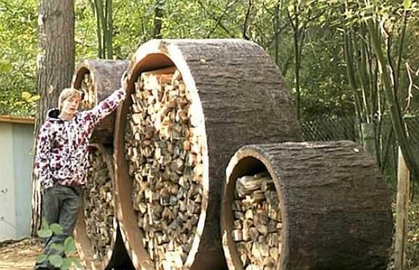 Хранить дрова для бани можно так