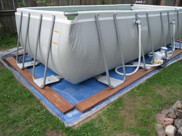Простой вариант установки каркасного бассейна