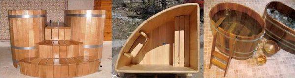 Деревянные купели для бани можно найти разных форм. Удобны бывают угловые модели - занимают немного места