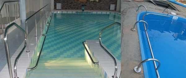 Поручни необходимы, если спуск в бассейн сделан в виде римской лестницы, неплохо их установить по периметру - отдыхать можно, придерживаясь руками