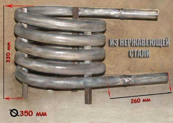Основа всех устройств подогрева воды в бассейна на дровах - змеевик