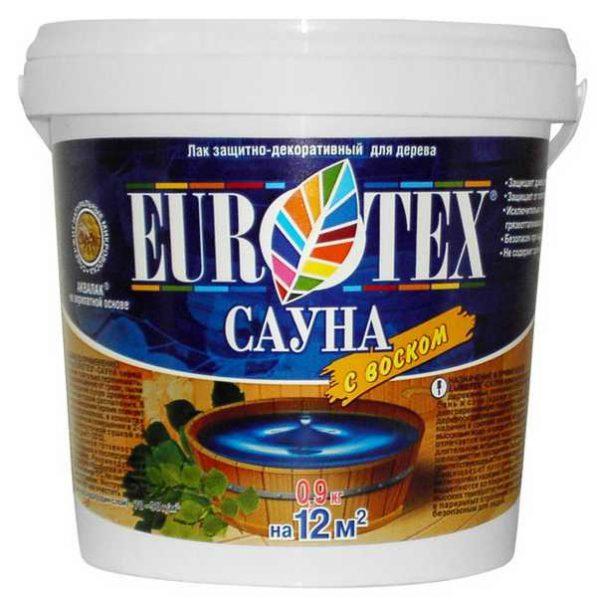 Eurotex (Евротекс) сауна: аквалак с воском для защиты древесины