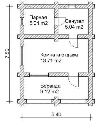 Проект сруба бани с верандой