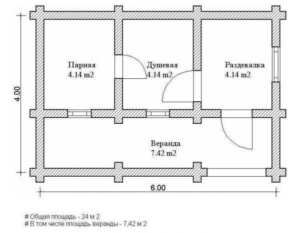 Проект сруба для бани 6х3