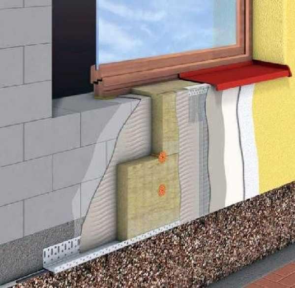 Один из вариантов наружного утепления стен из пеноблоков с последующей отделкой