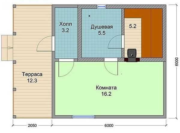 Проект бани из пенобетона с террасой и большой комнатой отдыха