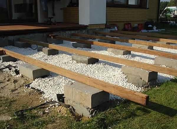 Еще один вариант фундамента под террасу - готовые бетонные блоки. Нужно только выкопать соответствующий котлован под каждый столбик, сделать гравийную подсыпку, поставить блок-полушку, а сверху на раствор прямоугольный блок