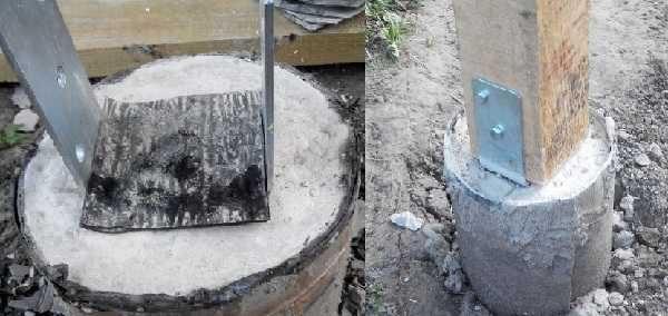 Как крепить опорные столбы к бетонным сваям - один из вариантов