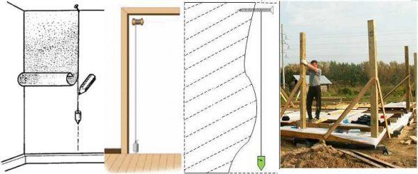 Приложив нить к вертикальной поверхности дожидаются пока успокоятся его колебания, а затем смотрят, одинаковое ли расстояние от проверяемой поверхности до шнура