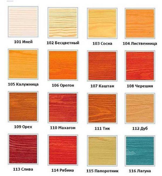 Цвета Сенеж Аквадекор переданы условно. Итоговый цвет зависит от цвета древесины, а также количества слоев