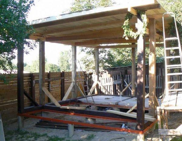 Стропильная система односкатной крыши очень проста в изготвлении