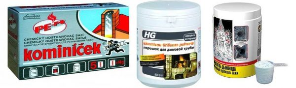 Некоторые виды химических препаратов для чистки дымоходов
